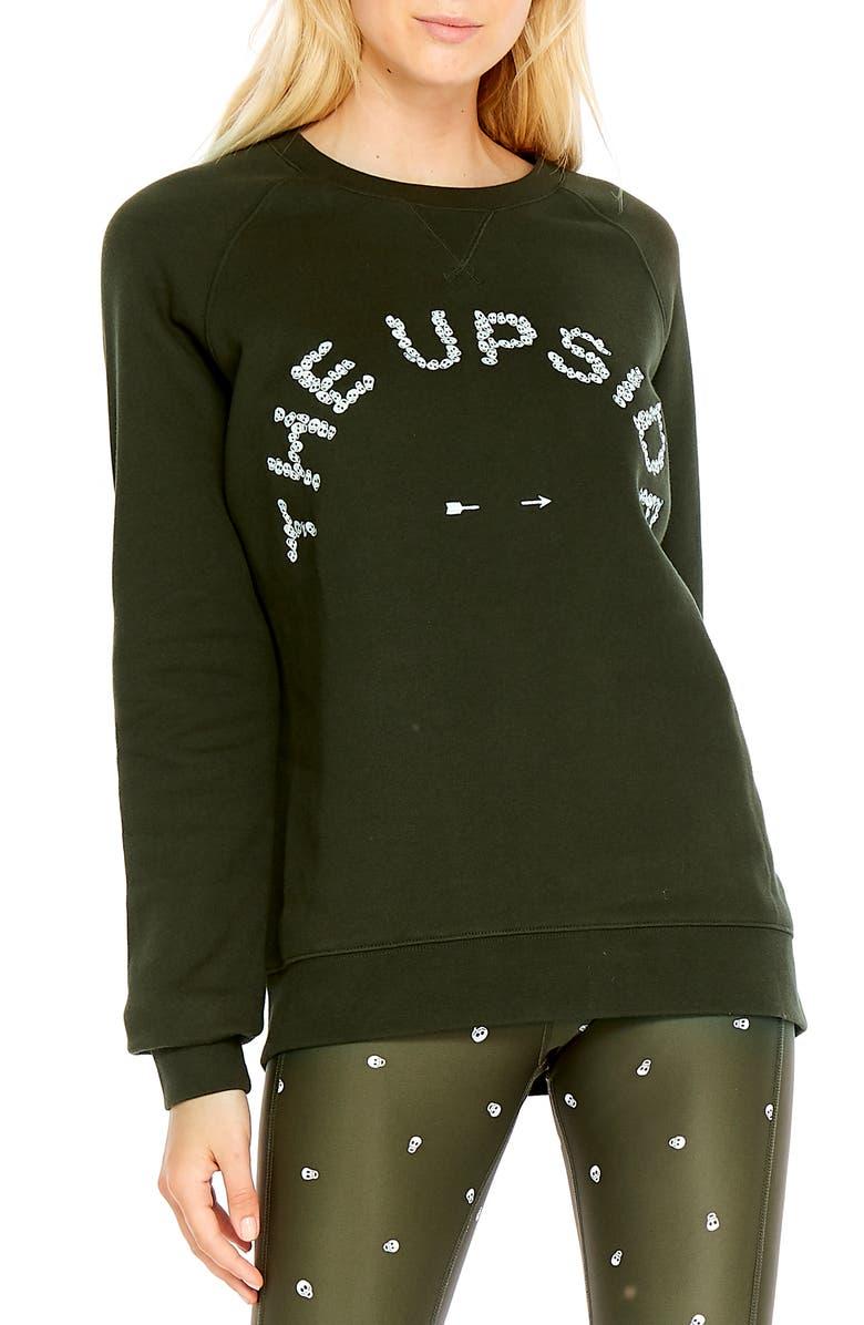 THE UPSIDE Skulls Sid Crewneck Sweatshirt, Main, color, KHAKI/ WHITE