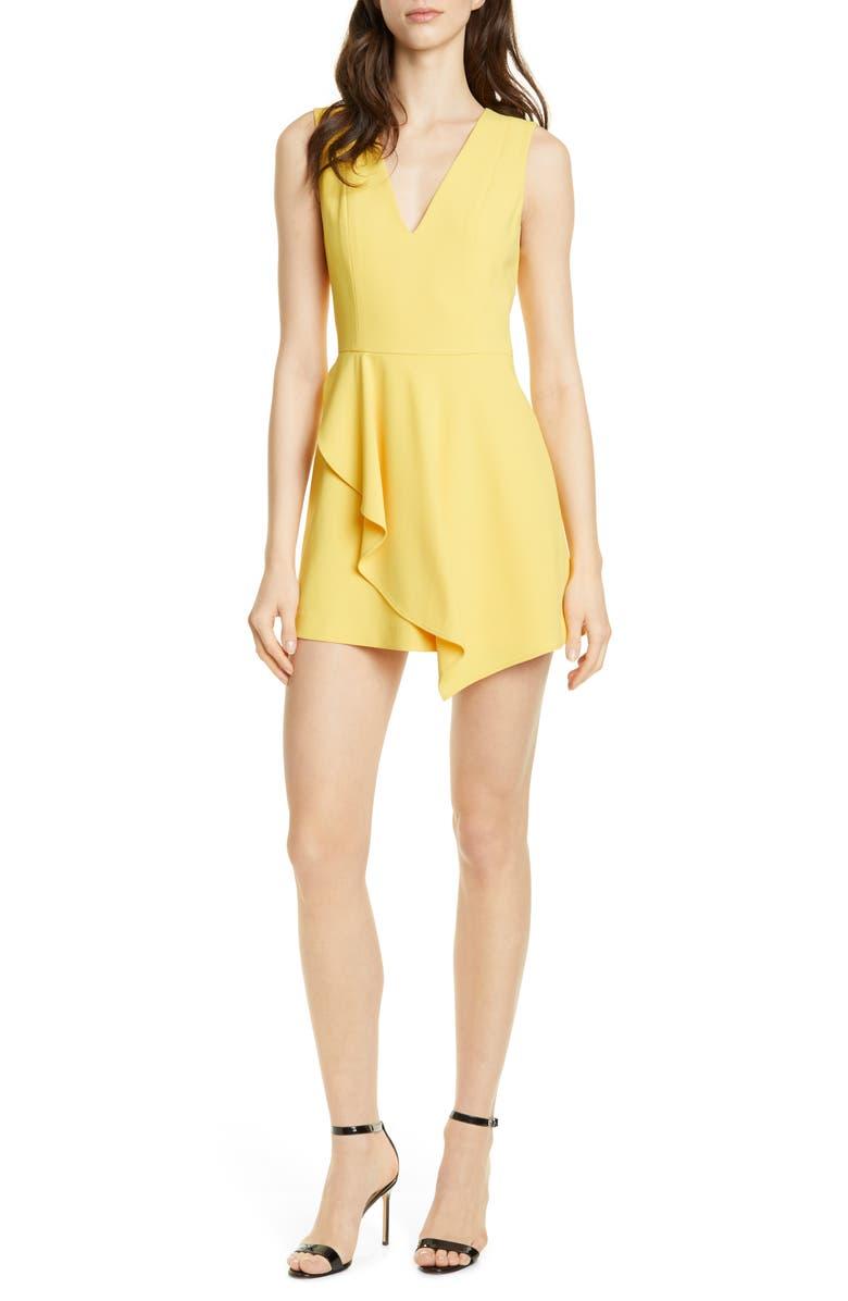 ALICE + OLIVIA Callie Asymmetrical Minidress, Main, color, GOLDEN ROD