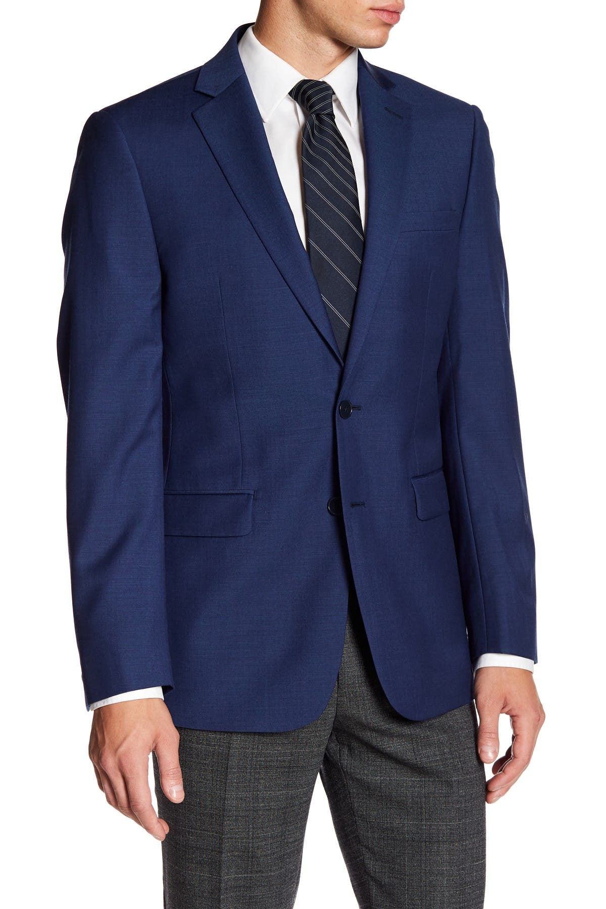 Image of Calvin Klein Solid Blue Wool Suit Suit Separates Jacket