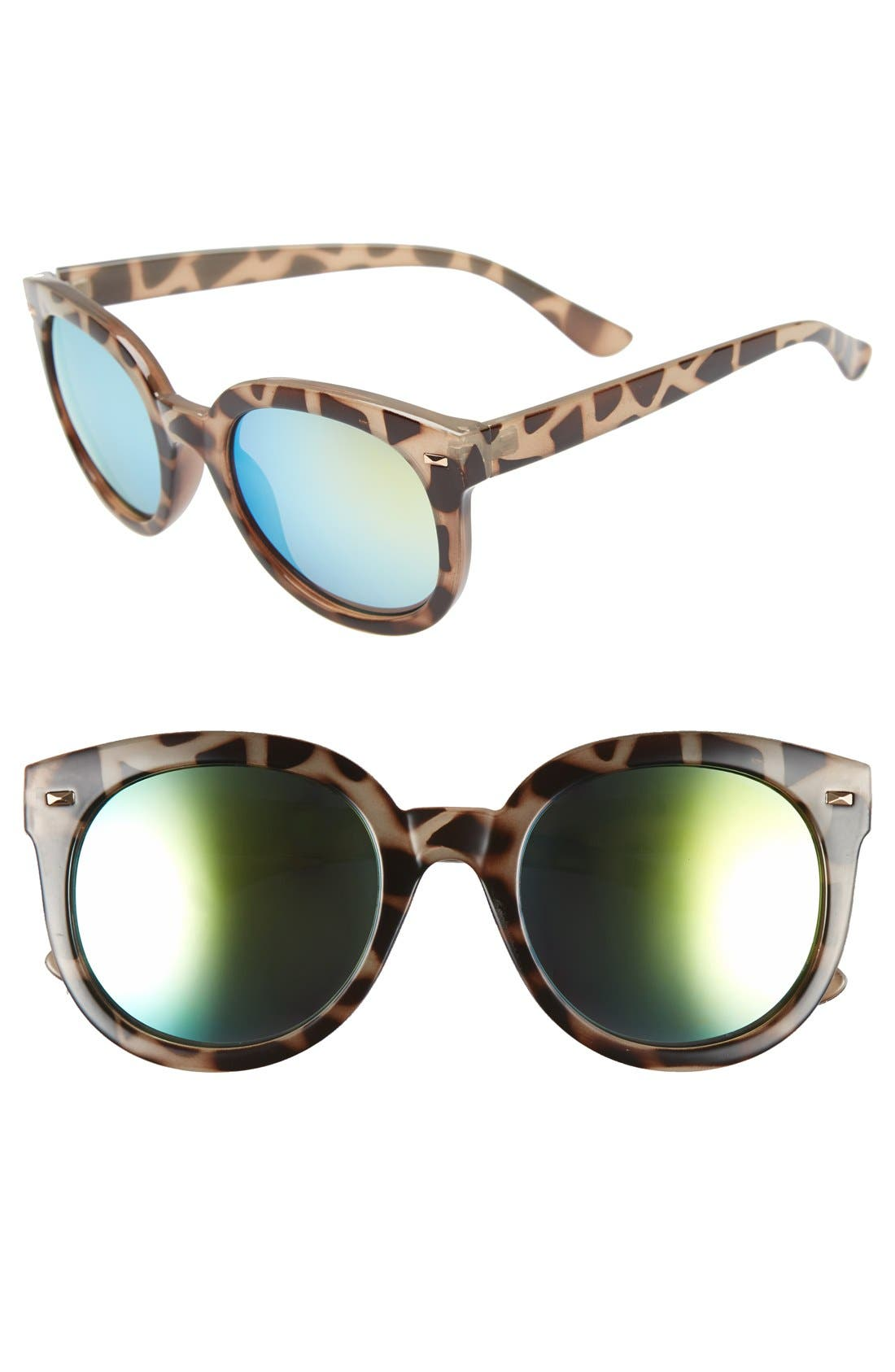 52mm Oversize Mirrored Sunglasses, Main, color, GREEN/GREY TORT
