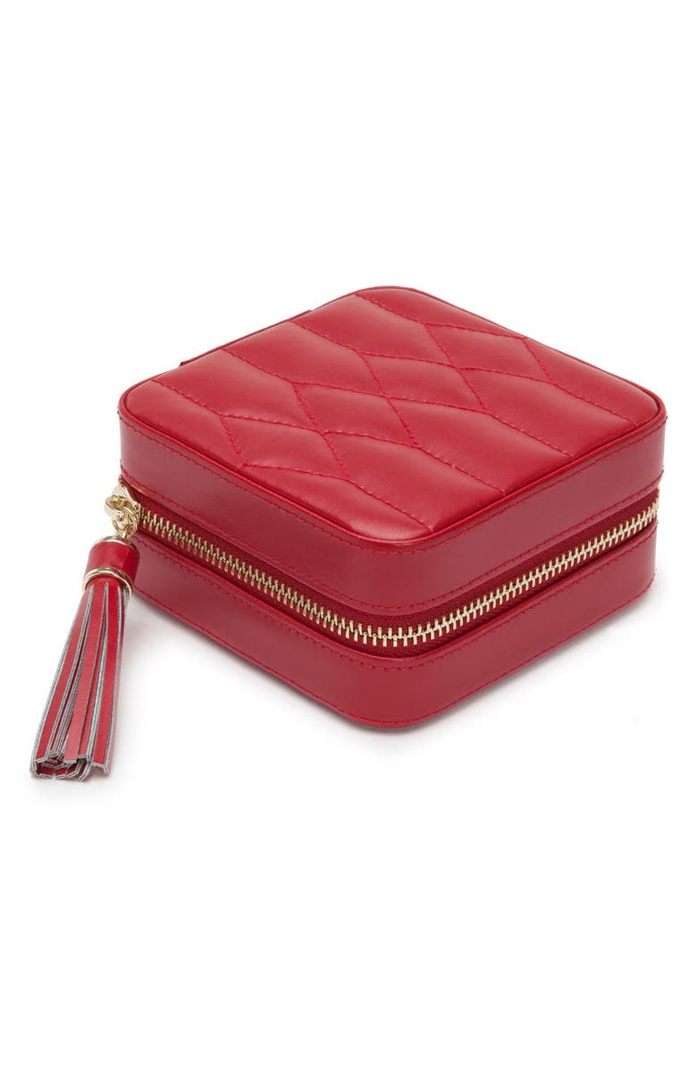 WOLF 'Caroline' Travel Jewelry Case, Main, color, RED