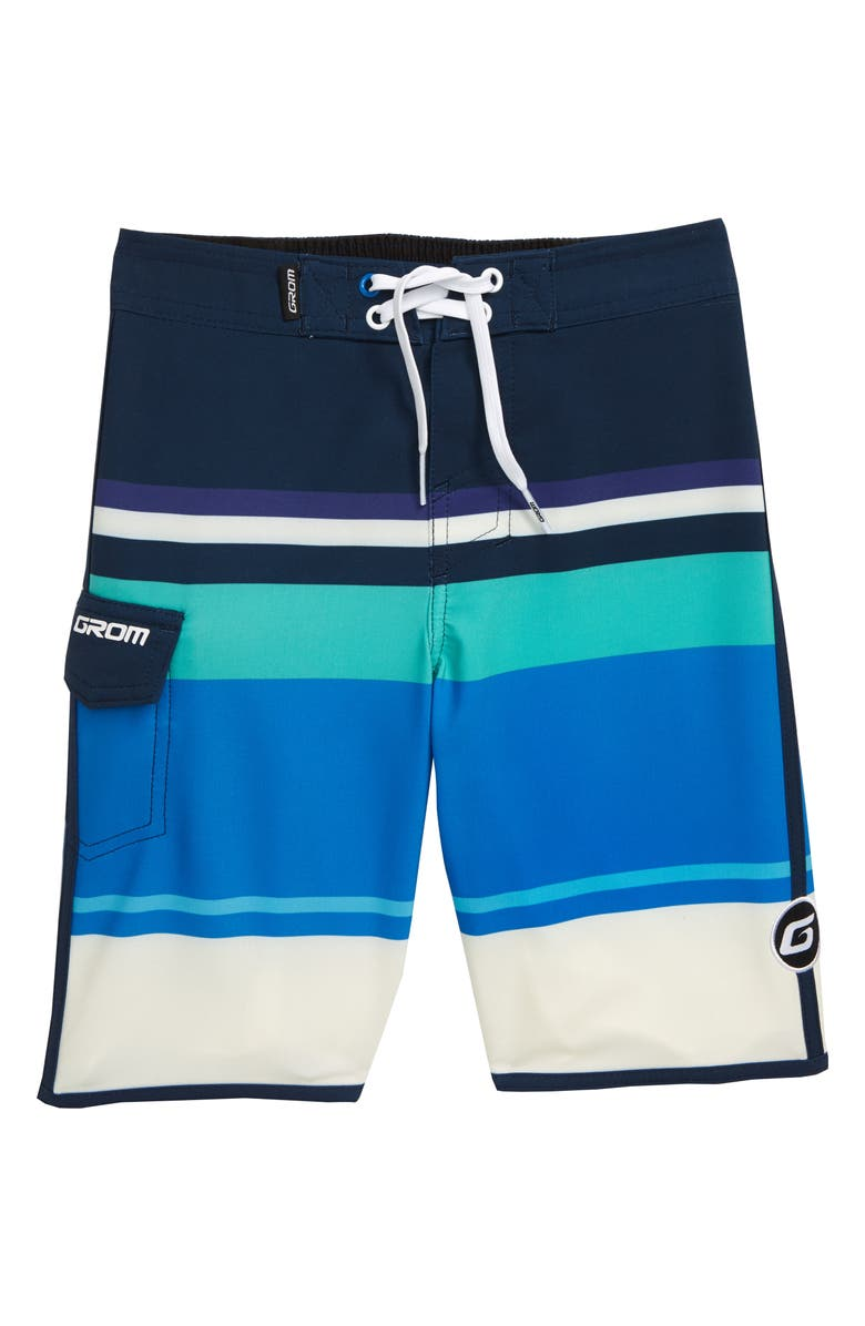 GROM Big Stripe Board Shorts, Main, color, WHITE