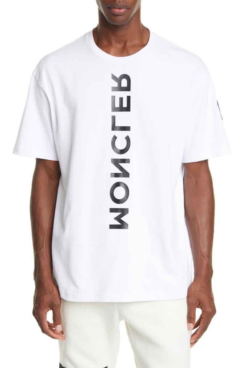 MONCLER GRENOBLE Mirror Logo Graphic Cotton T-Shirt, Main, color, WHITE