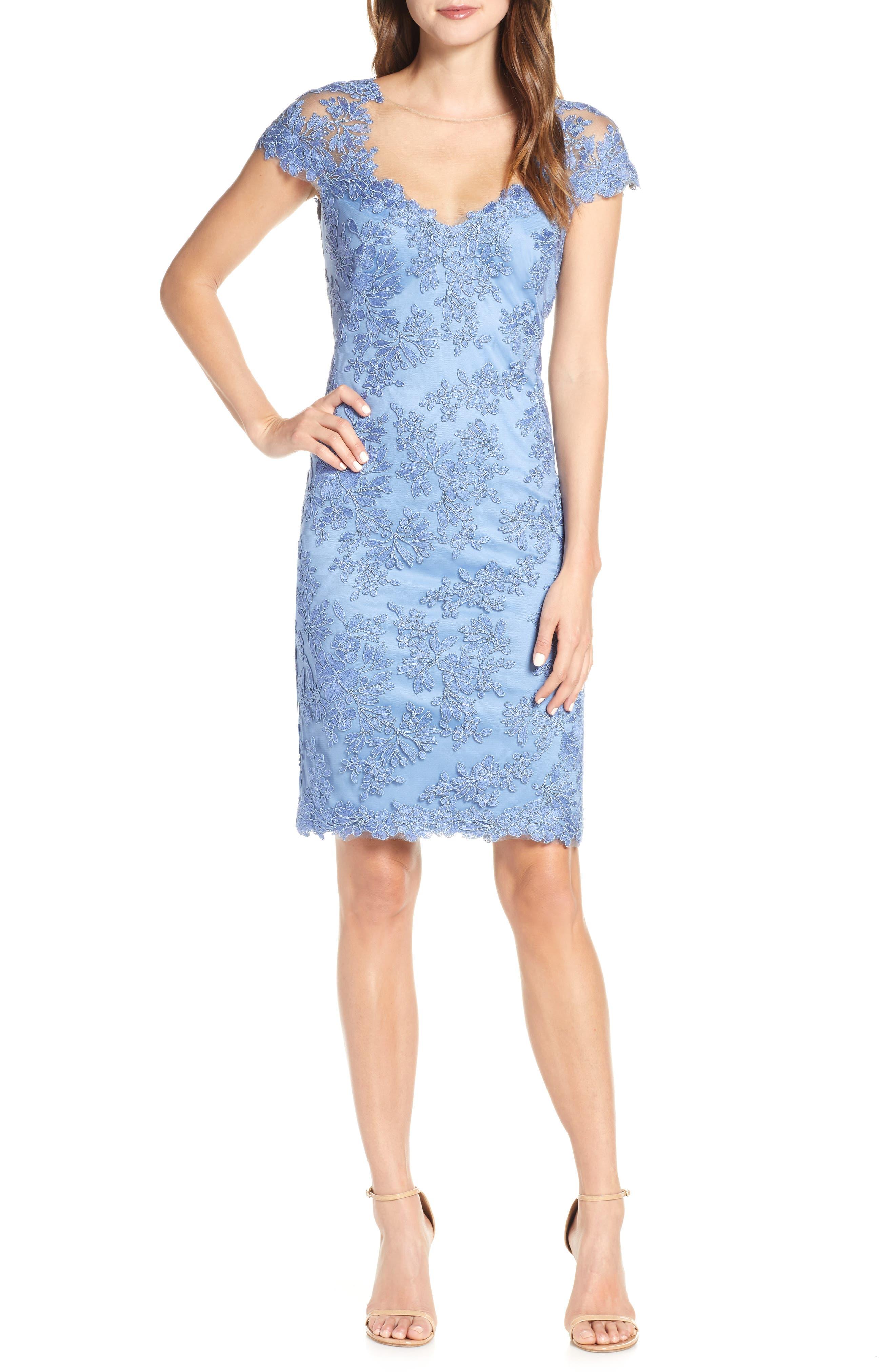 Corded Lace Sheath Dress, Main, color, BLUE STONE