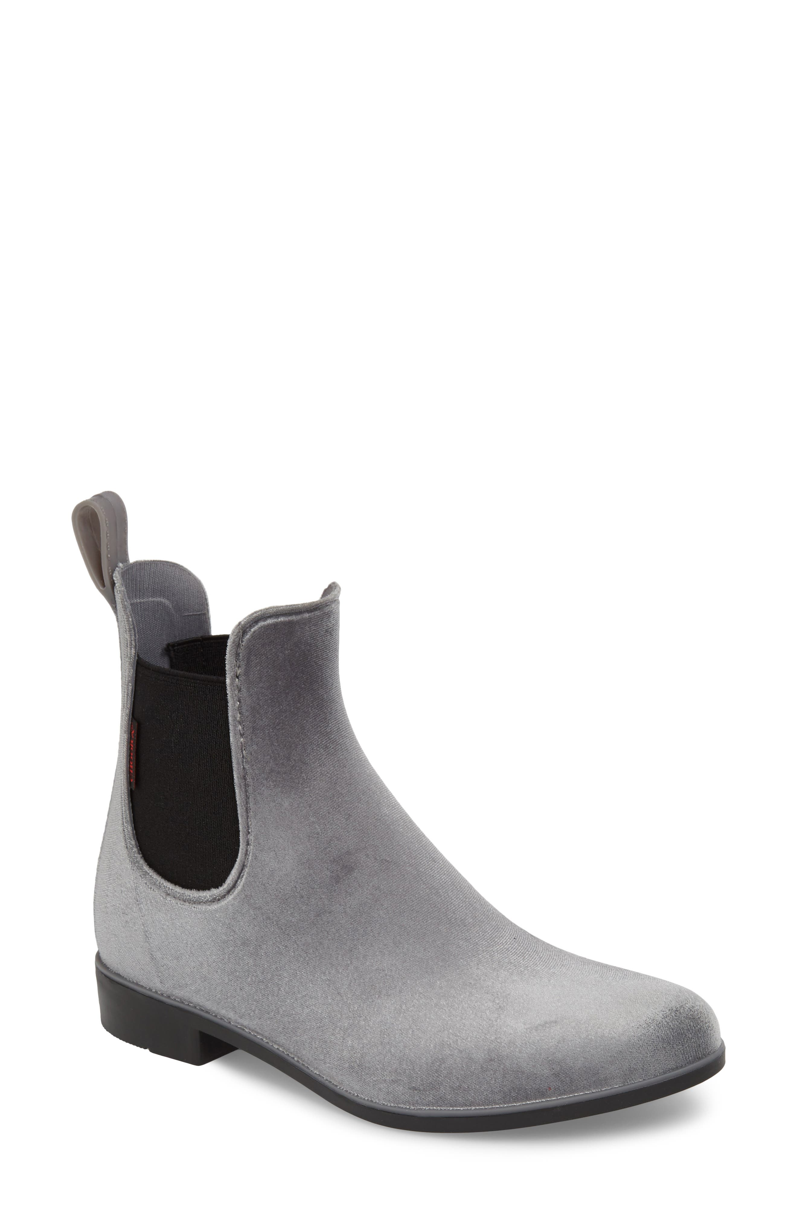 Chooka Waterproof Velvet Chelsea Waterproof Rain Boot, Grey