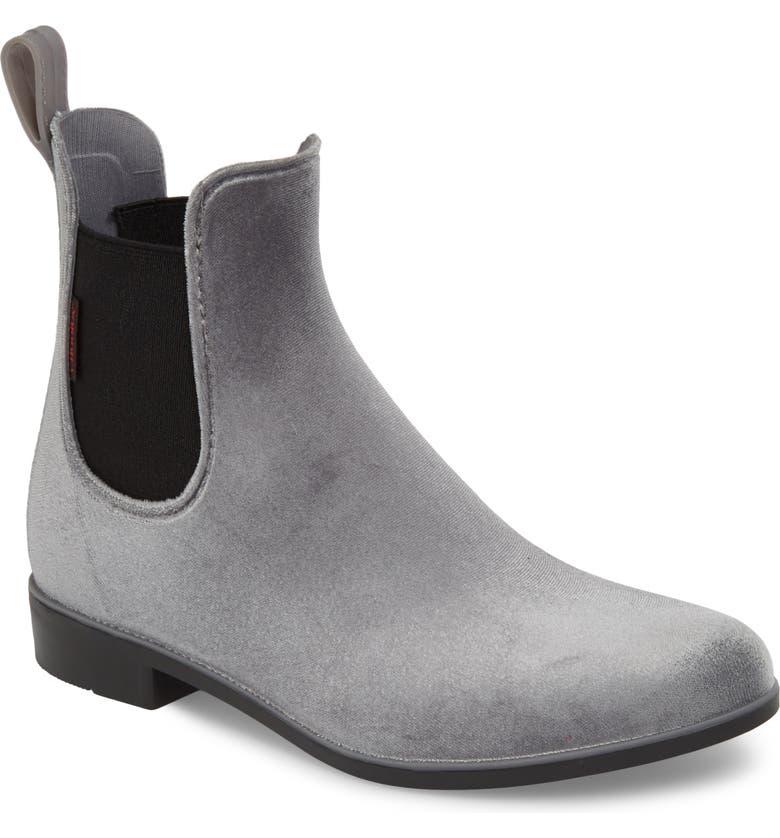 CHOOKA Waterproof Velvet Chelsea Waterproof Rain Boot, Main, color, GRAY