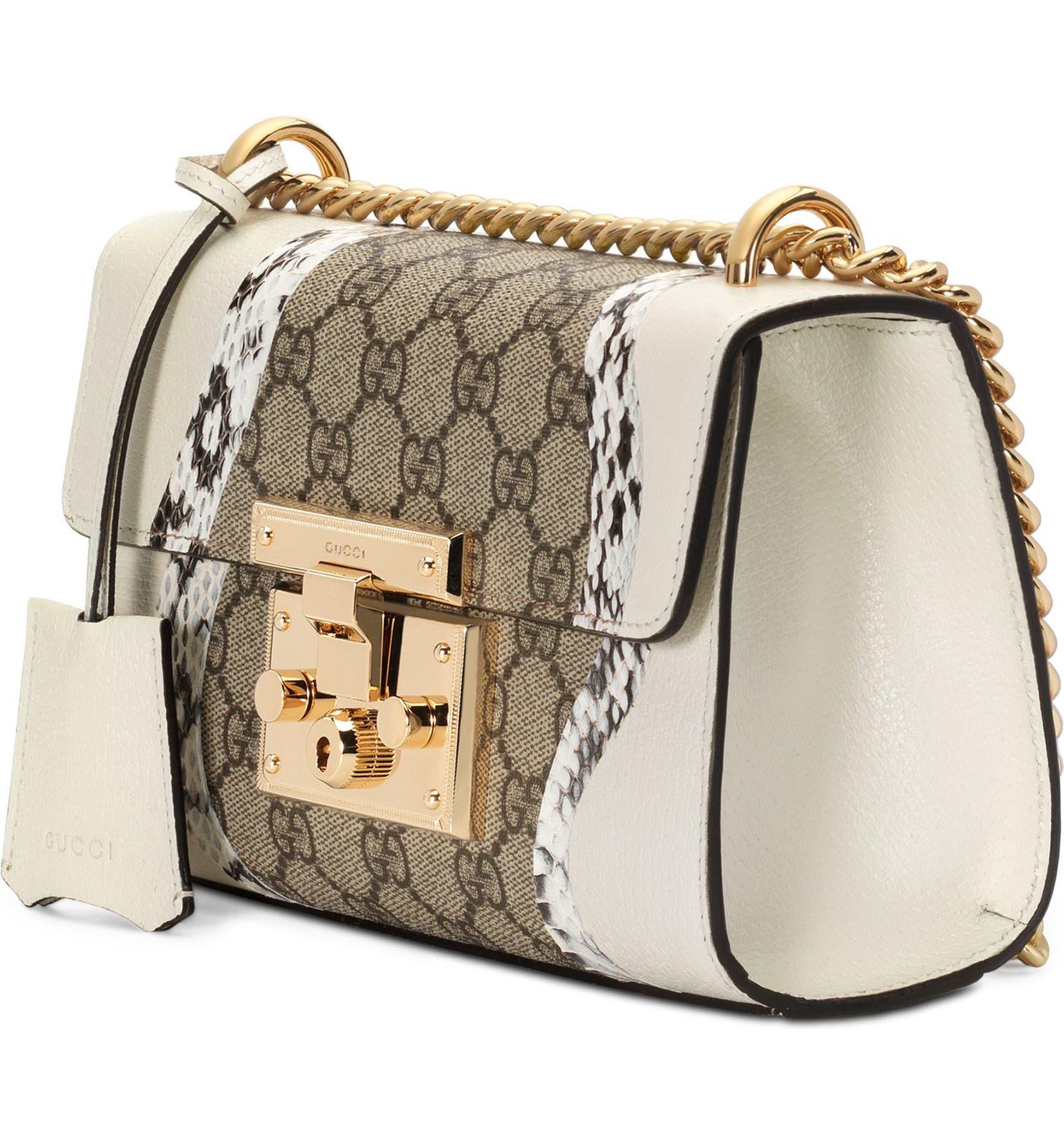 4a3f16ae6 Gucci Small Padlock GG Supreme Wave Shoulder Bag with Genuine Snakeskin Trim  | Nordstrom