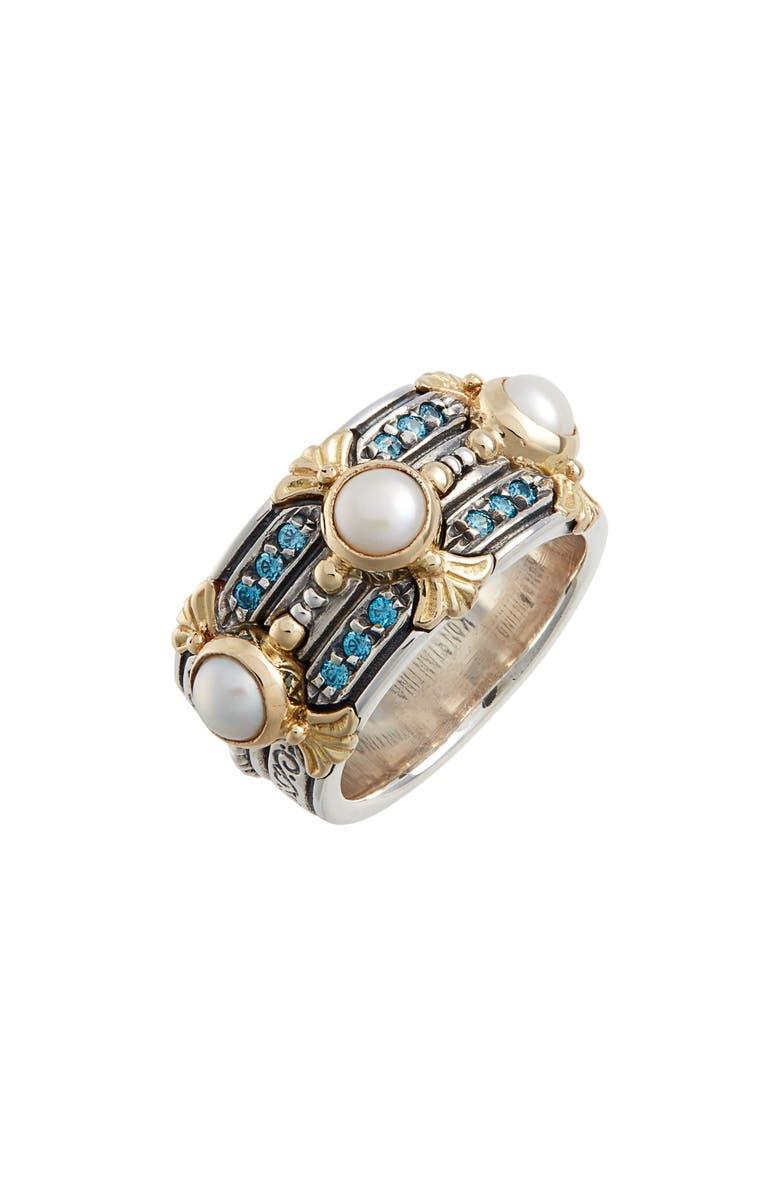KONSTANTINO Thalia Pearl & Blue Spinel Band Ring, Main, color, SILVER/ PEARL