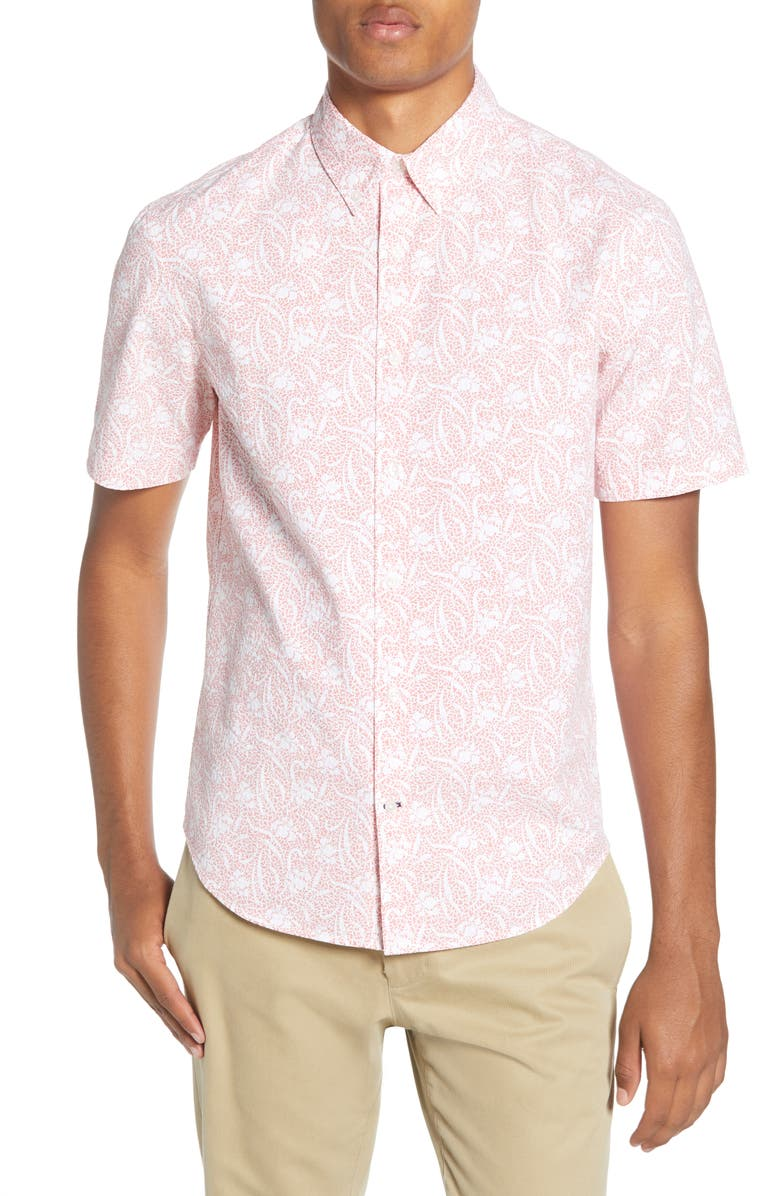 CLUB MONACO Squiggle Flower Slim Fit Short Sleeve Button-Down Shirt, Main, color, RED MULTI