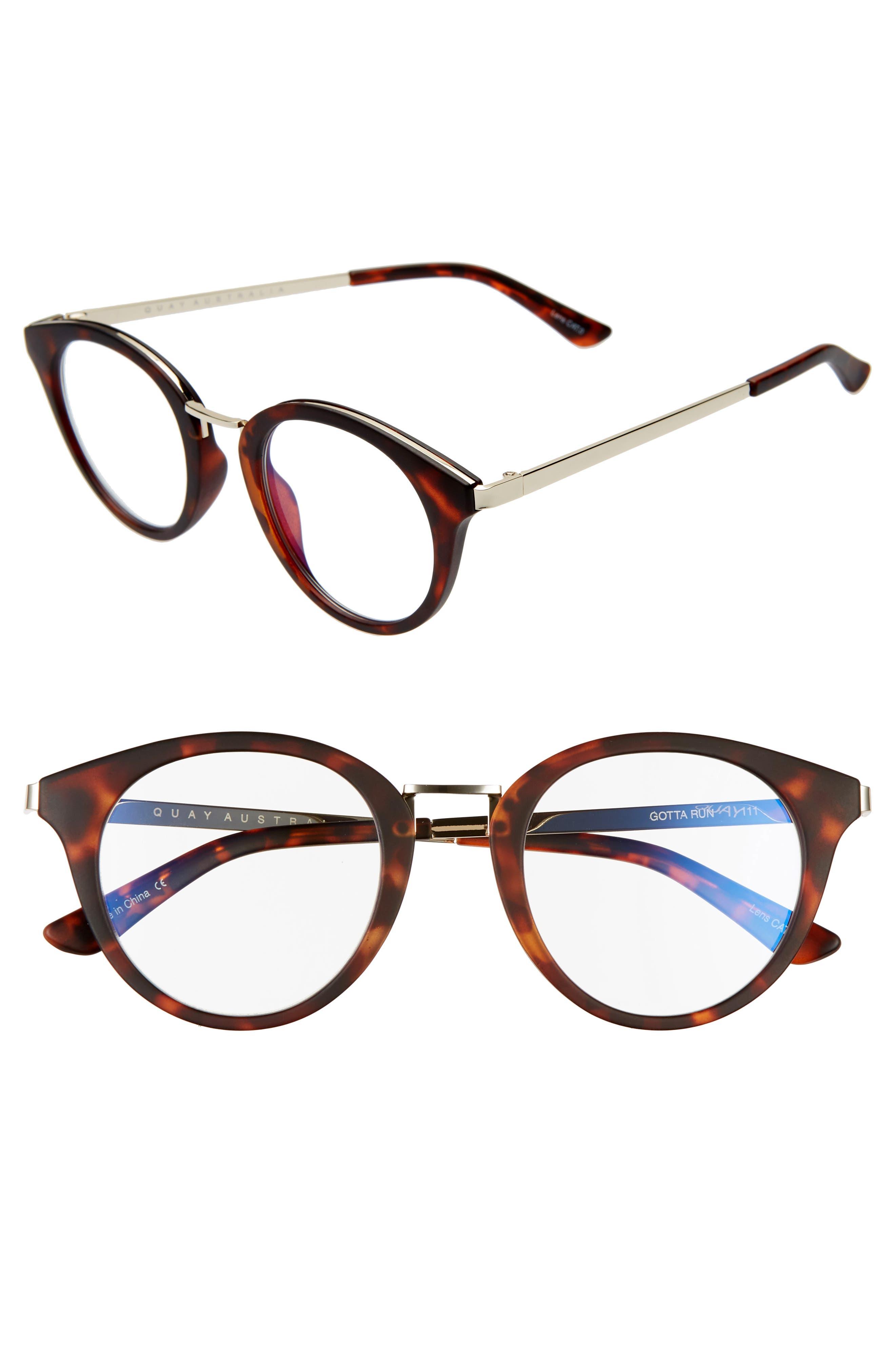 1940s Sunglasses, Glasses & Eyeglasses History Womens Quay Australia Gotta Run 46Mm Blue Light Blocking Glasses - Tortoise Clear Blue Light $60.00 AT vintagedancer.com