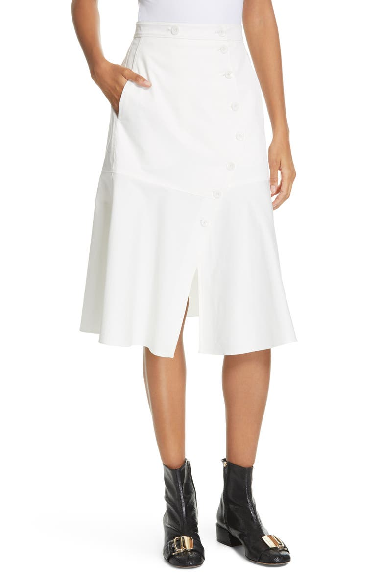 TIBI Dominic Flare Twill Skirt, Main, color, WHITE
