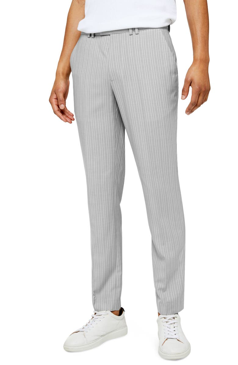 TOPMAN Paly Pinstripe Slim Fit Dress Pants, Main, color, GREY MULTI