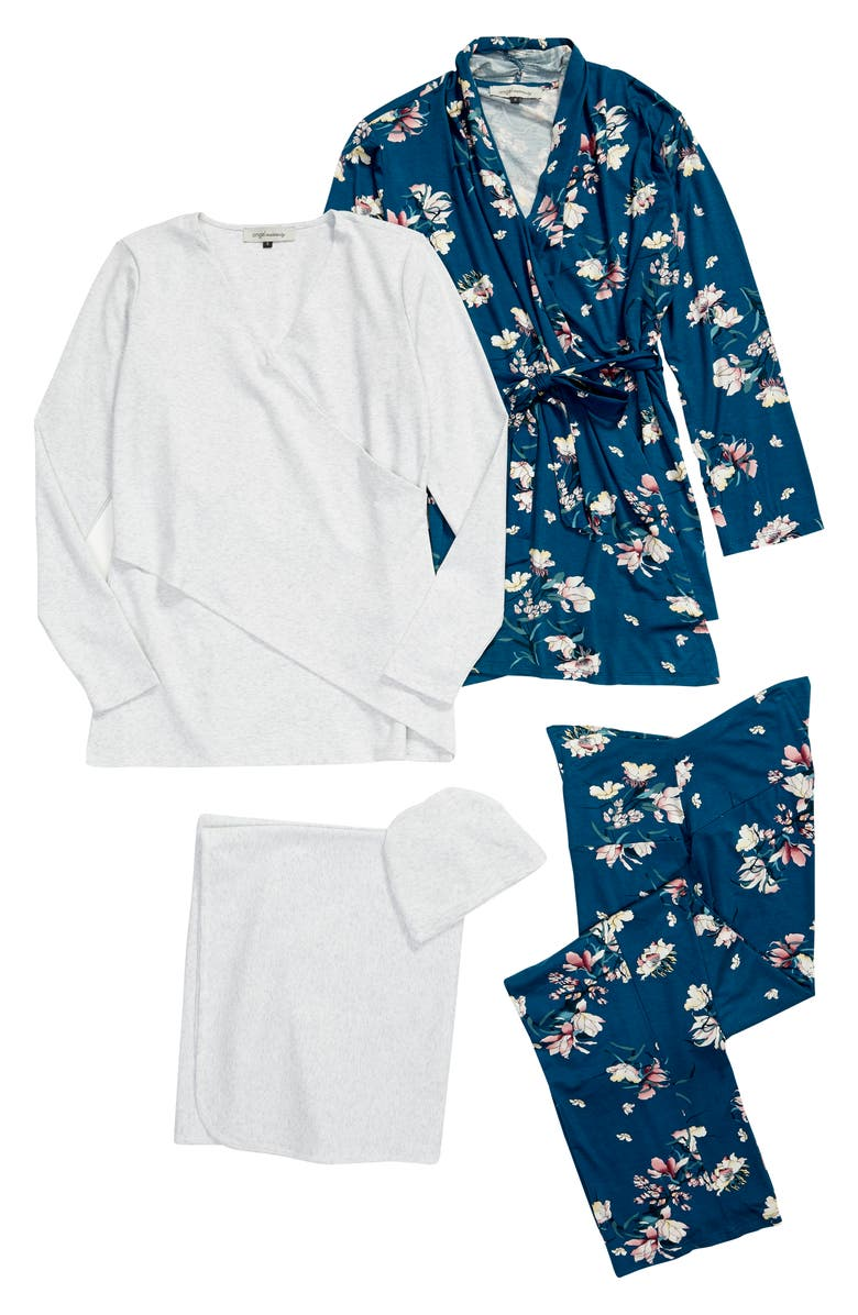 ANGEL MATERNITY Maternity/Nursing Robe, Top, Pants, Baby Wrap & Cap Set, Main, color, KHAKI