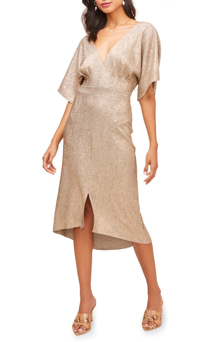 ASTR THE LABEL V-Neck High/Low Hem Midi Dress, Main, color, GOLD