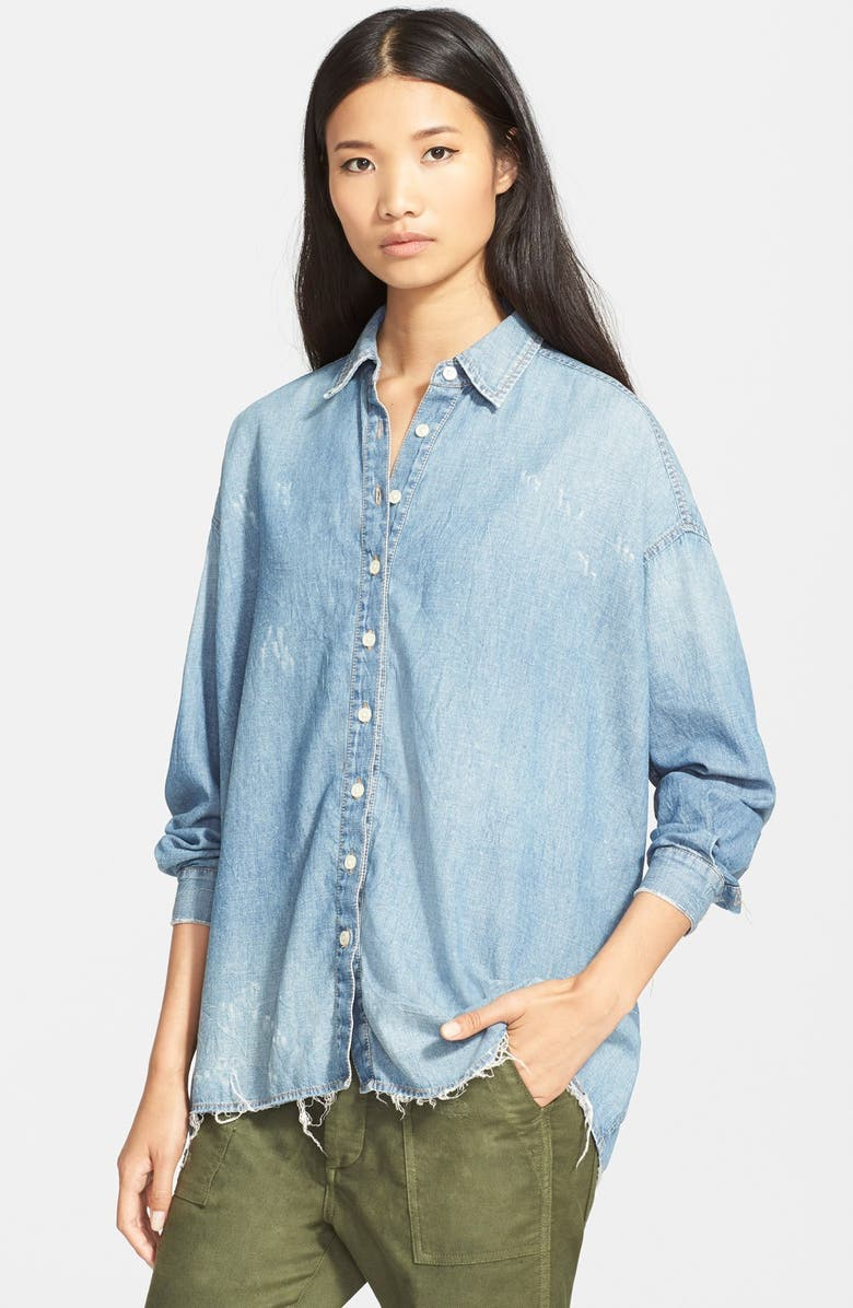 THE GREAT. 'The Big' OversizedChambray Shirt, Main, color, 450