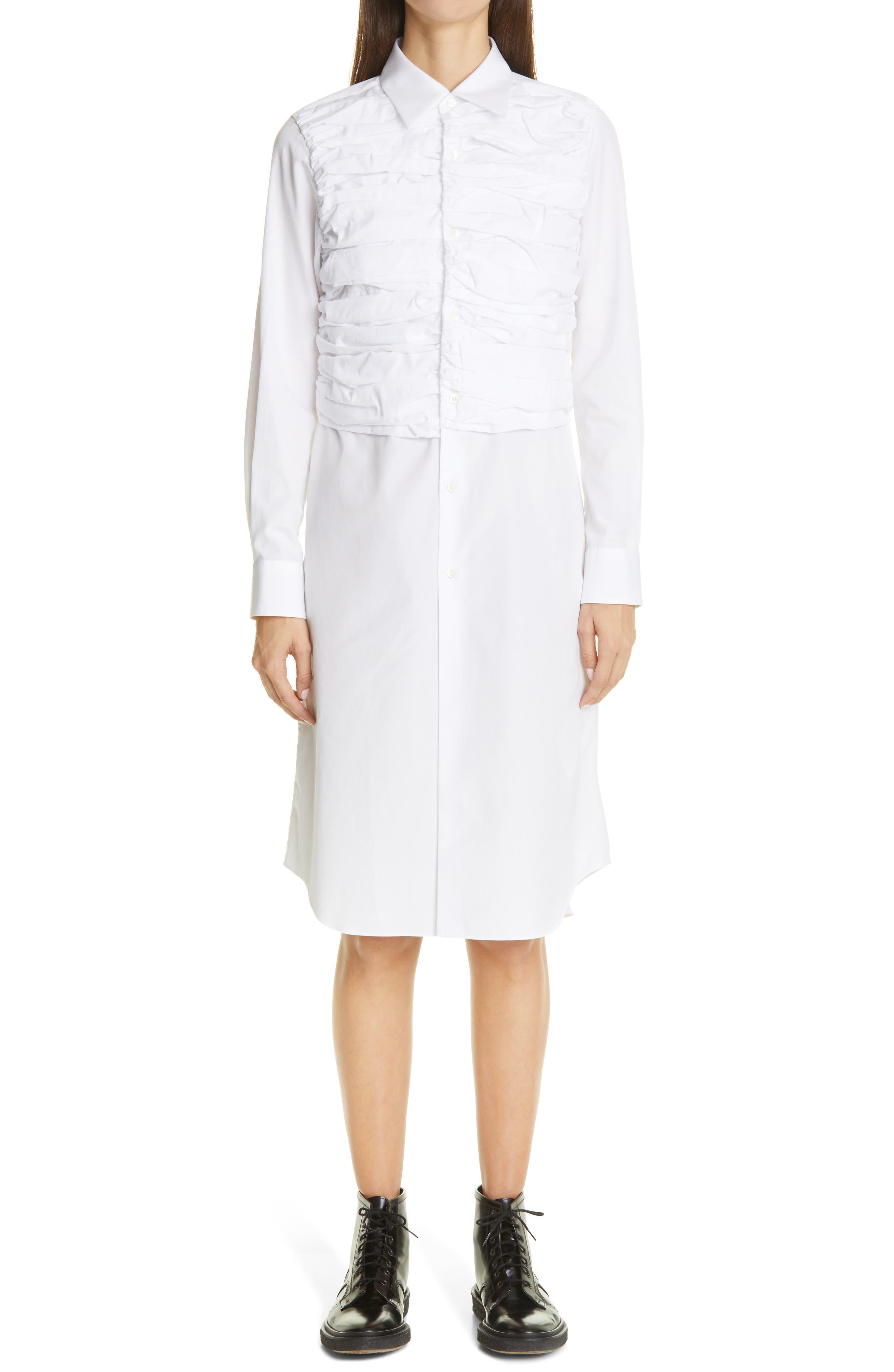 Comme des Garçons Ruched Long Sleeve Midi Shirtdress | Nordstrom
