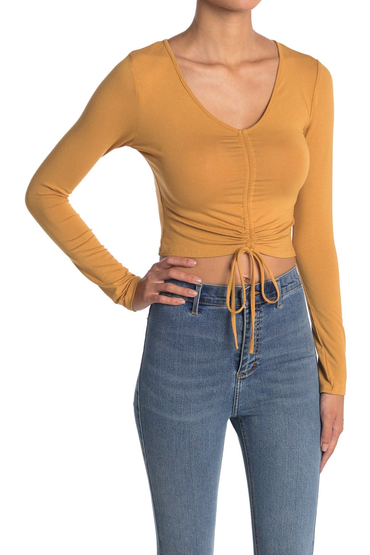 Image of Know One Cares Ruched Knit Crop Top