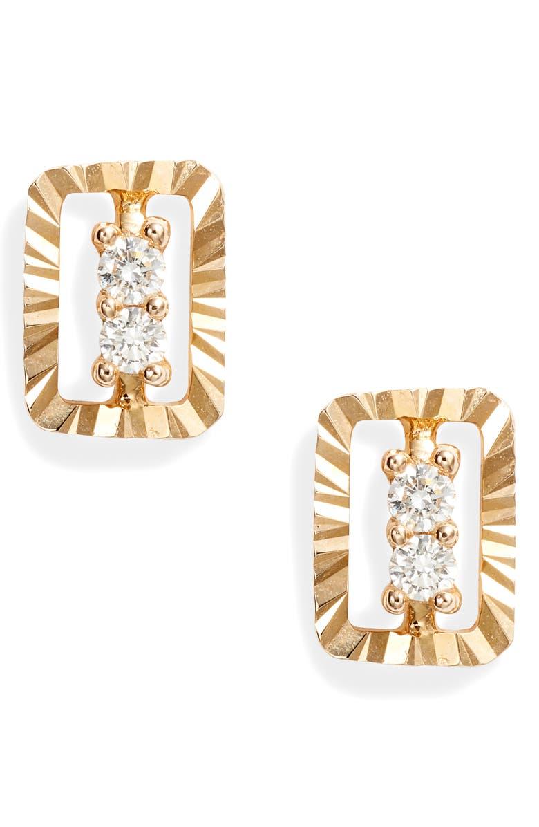 DANA REBECCA DESIGNS Mikaela Stelle Diamond Rectangle Stud Earrings, Main, color, YELLOW GOLD