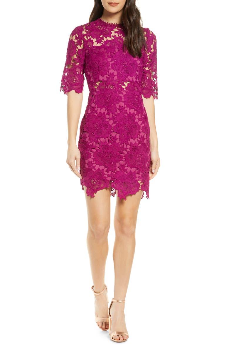 LULUS A Fine Romance Lace Cocktail Dress, Main, color, MAGENTA