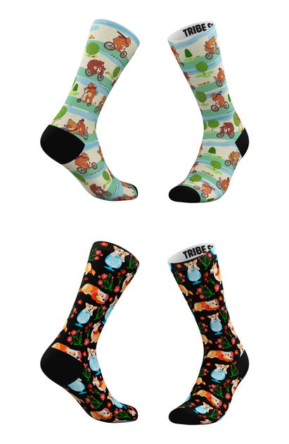 Tribe Socks ASSORTED 2-PACK CUP OF CORGIS & BEARS ON BIKES CREW SOCKS