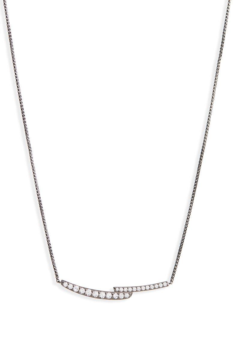 NADRI Curved Pavé Bar Necklace, Main, color, BLACK