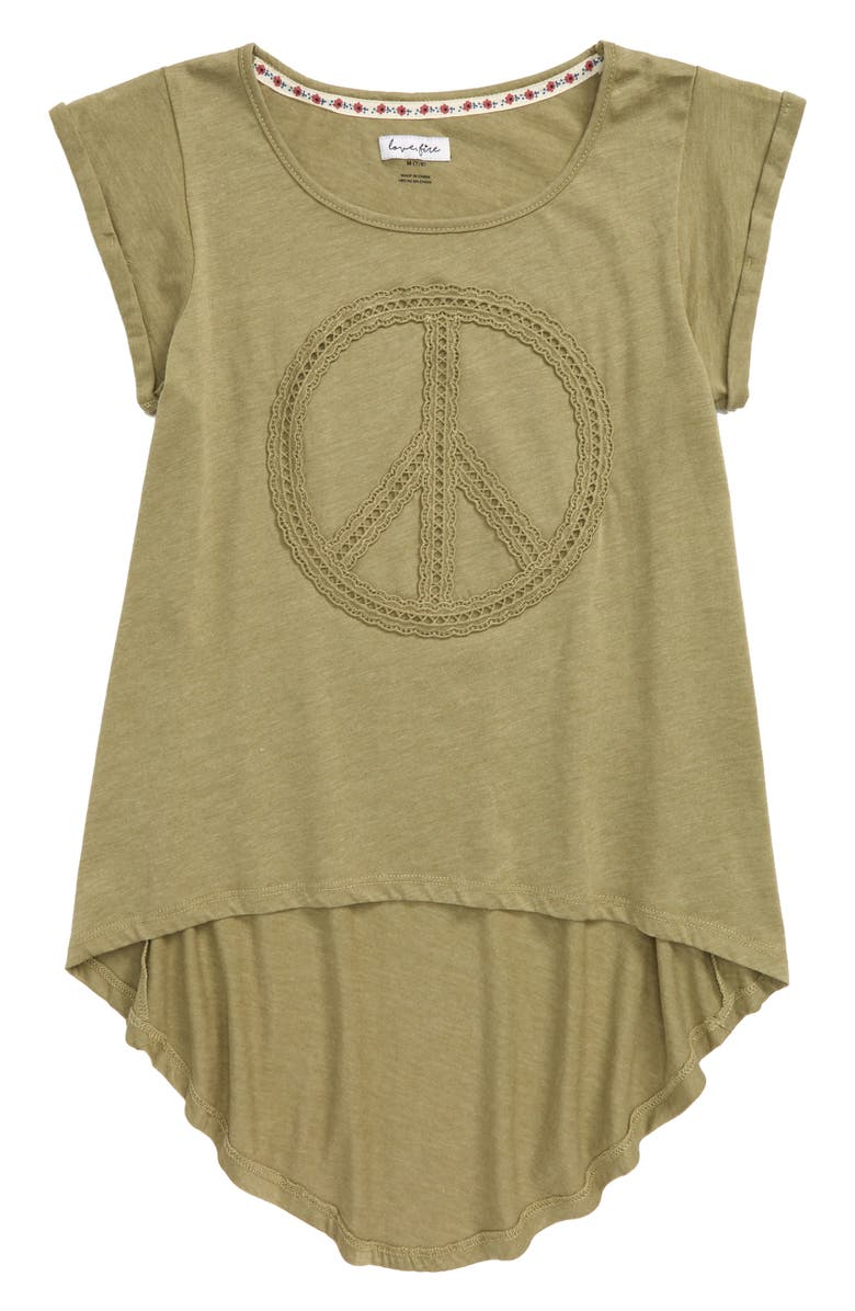 LOVE, FIRE Crochet Peace High/Low Tee, Main, color, TANGLEWOOD GREEN
