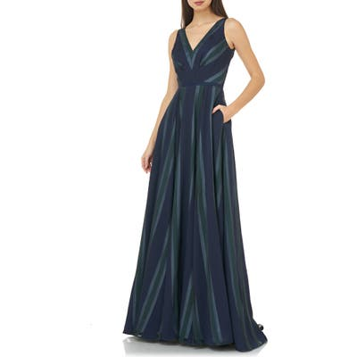 Carmen Marc Valvo Infusion Chevron Stripe V-Neck Gown, Blue
