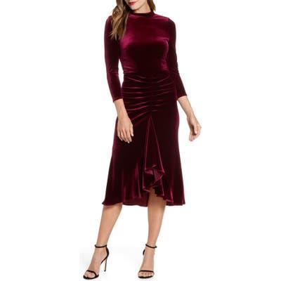 Eliza J Ruched Velvet Dress, Burgundy