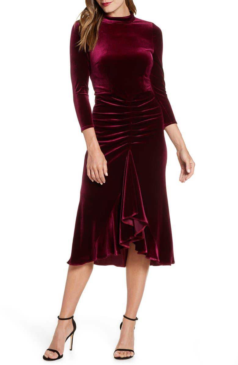ELIZA J Ruched Velvet Dress, Main, color, BURGUNDY