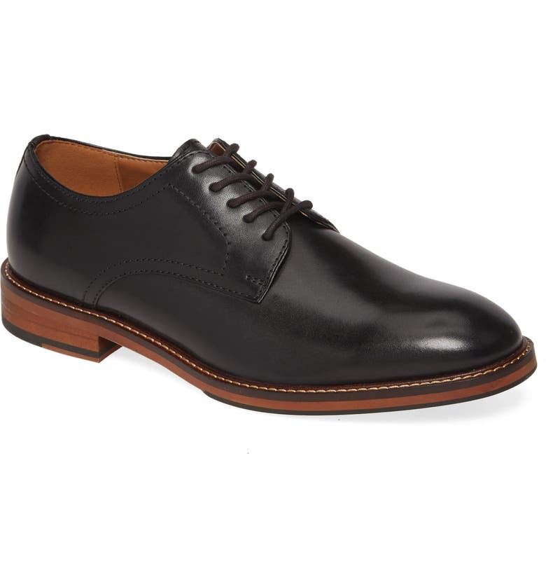 NORDSTROM MEN'S SHOP Brock Plain Toe Derby, Main, color, BLACK LEATHER