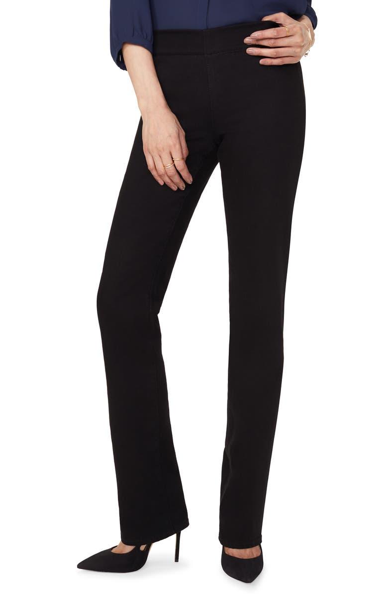 NYDJ Marilyn Straight Leg Ponte Pants, Main, color, BLACK