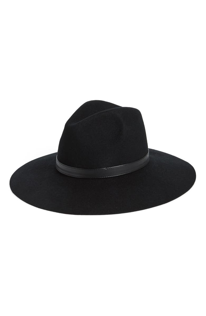 SOLE SOCIETY Wide Brim Wool Hat, Main, color, 001
