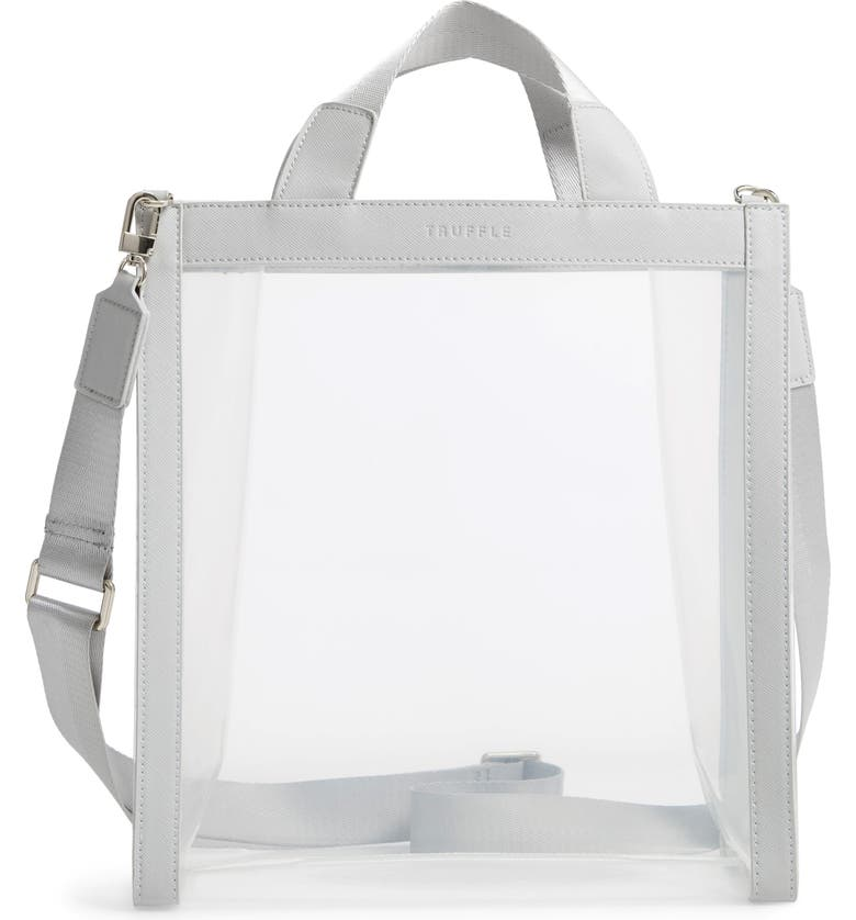 TRUFFLE Clarity Clear Tote, Main, color, DOVE GREY
