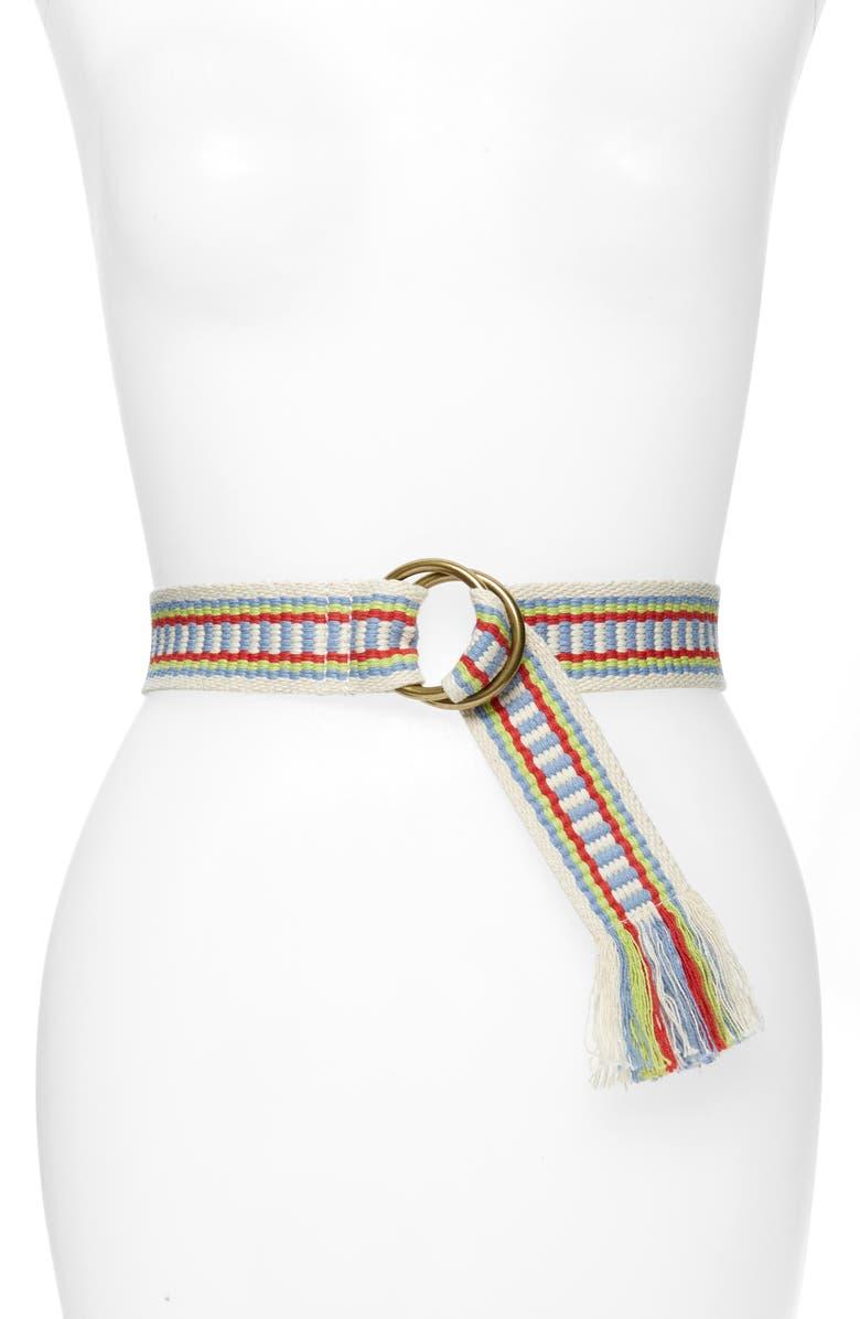 MADEWELL Rainbow Woven O-Ring Belt, Main, color, 400