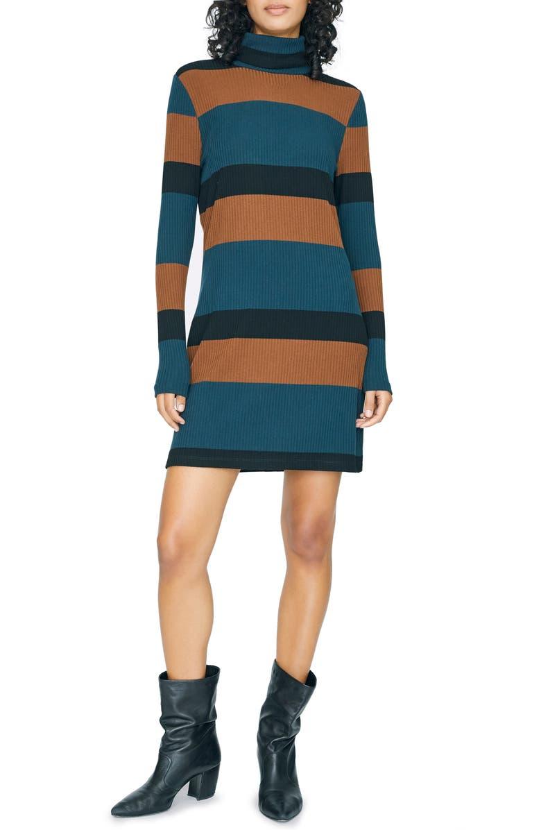 SANCTUARY Larissa Stripe Long Sleeve Turtleneck Rib Dress, Main, color, JADE STRIPE