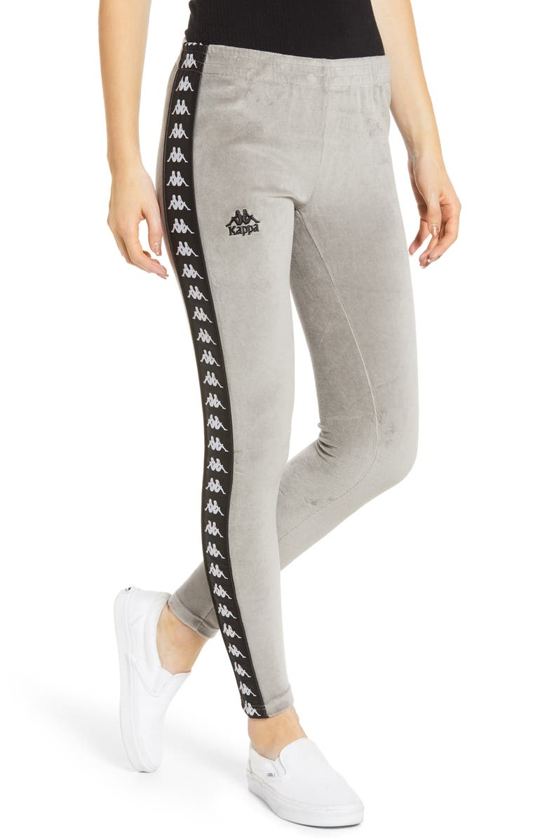 KAPPA Velour Leggings, Main, color, GREY MIST/ BLACK
