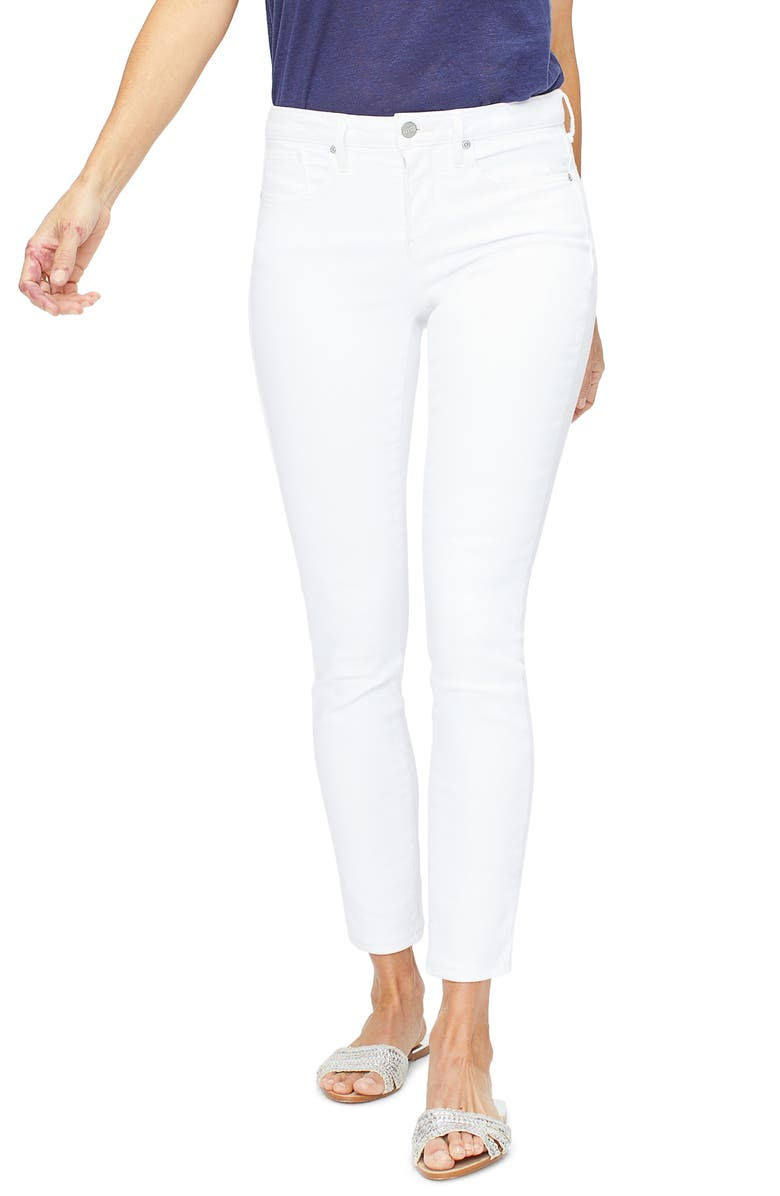 NYDJ Ami Embroidered Pocket Stretch Skinny Jeans, Main, color, OPTIC WHITE