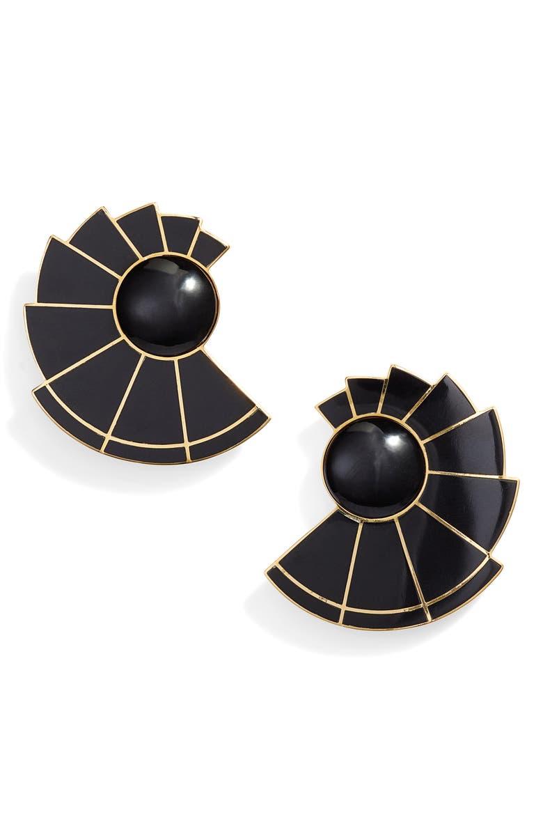 MONICA SORDO Nautilus Ear Fan Earring, Main, color, BLACK ONYX