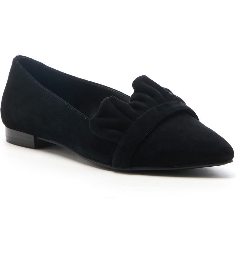 SOLE SOCIETY Kamber Ruffle Flat, Main, color, BLACK SUEDE