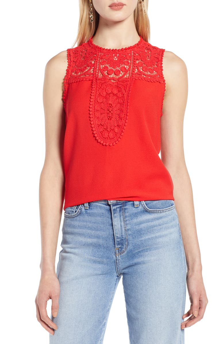 HALOGEN<SUP>®</SUP> Lace & Crepe Top, Main, color, TOMATO RED