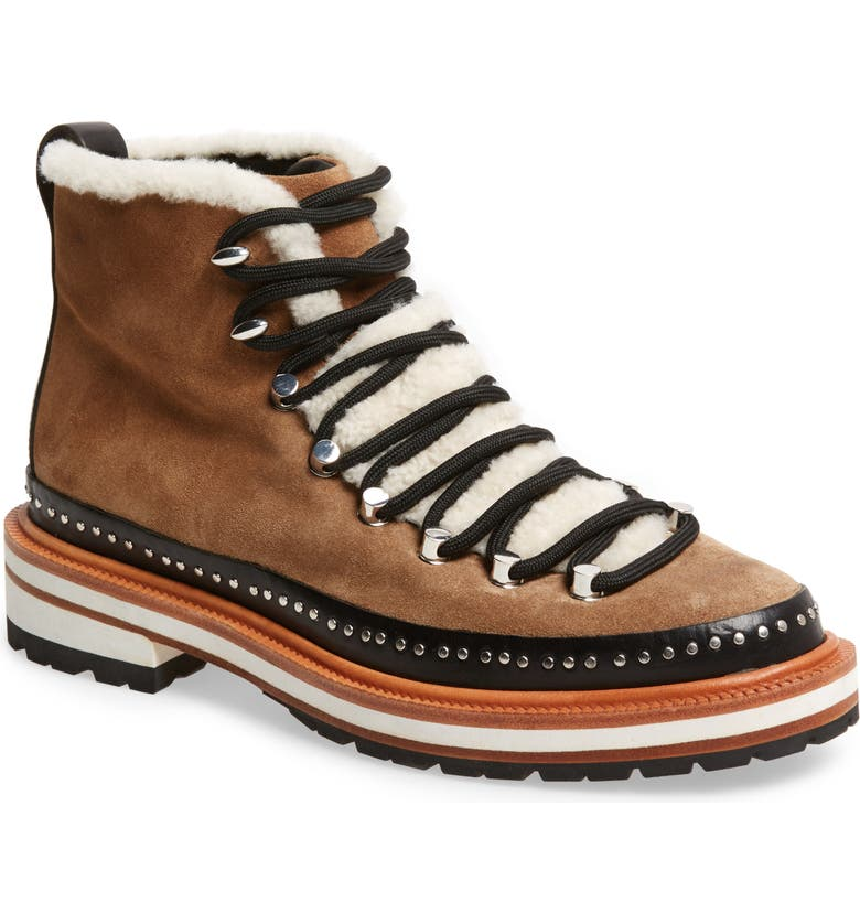 RAG & BONE Compass Genuine Shearling Combat Boot, Main, color, CAMEL