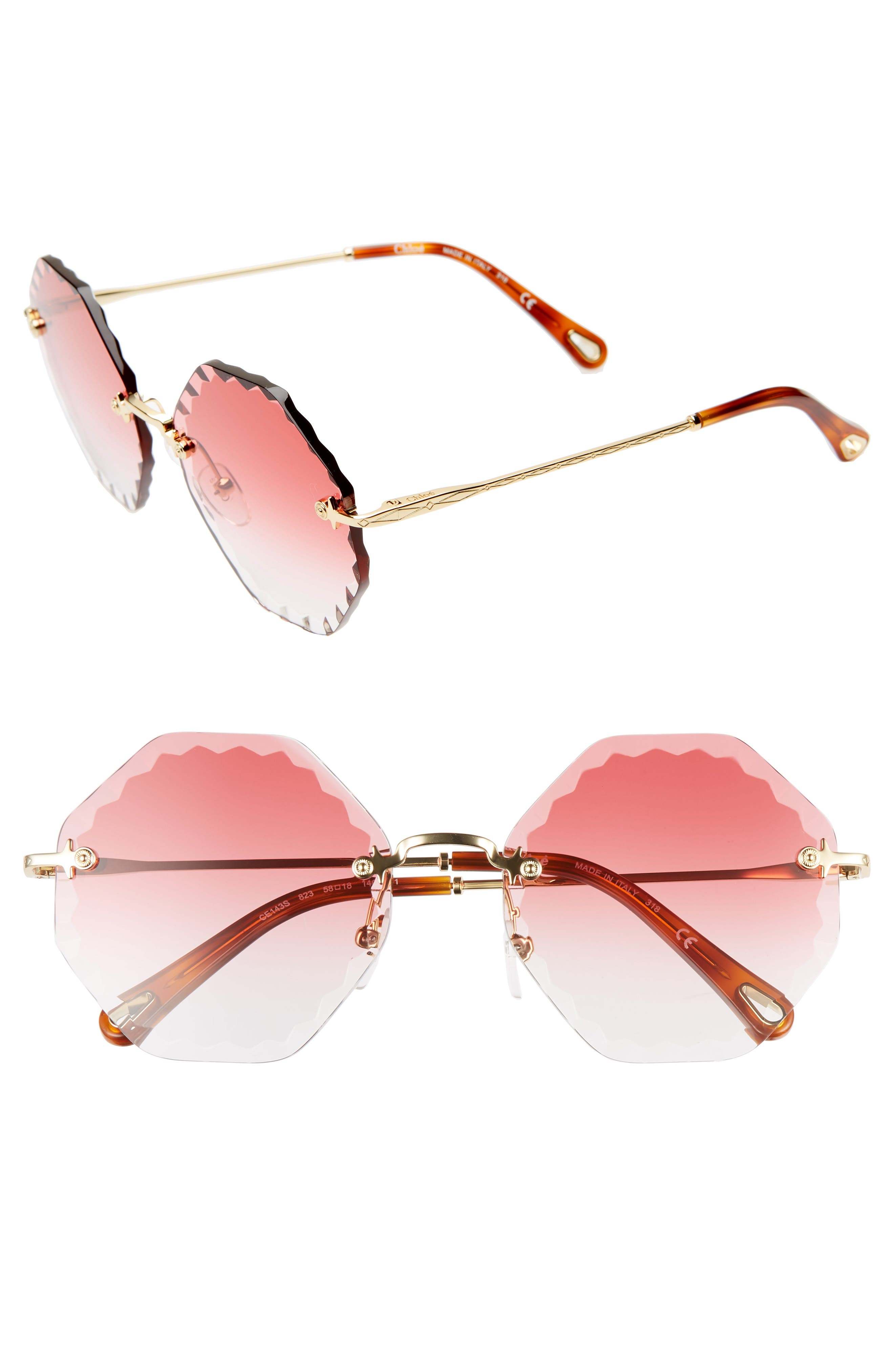 Chloe Rosie 5m Gradient Octagonal Rimless Sunglasses - Gold/ Gradient Coral