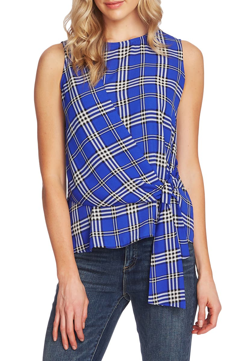 VINCE CAMUTO Highland Plaid Faux Wrap Top, Main, color, ELECTRIC BLUE