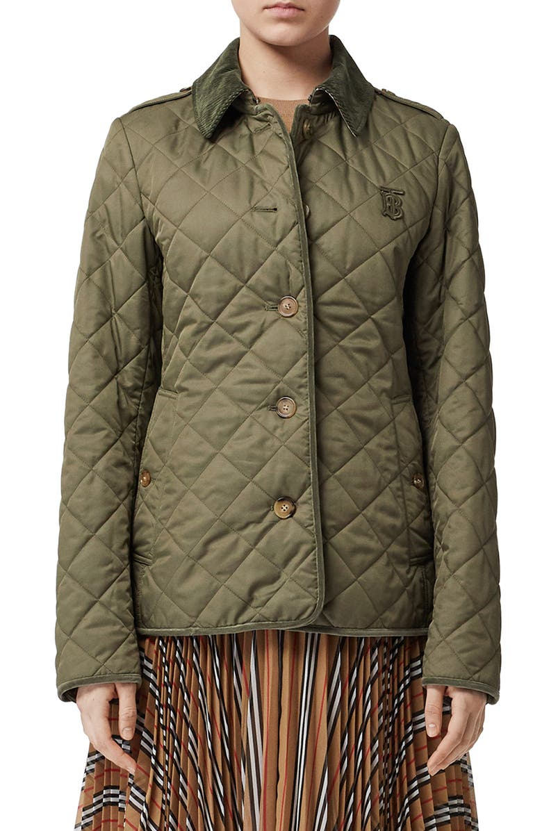 BURBERRY Fernhill Quilted Coat, Main, color, OLIVE GREEN