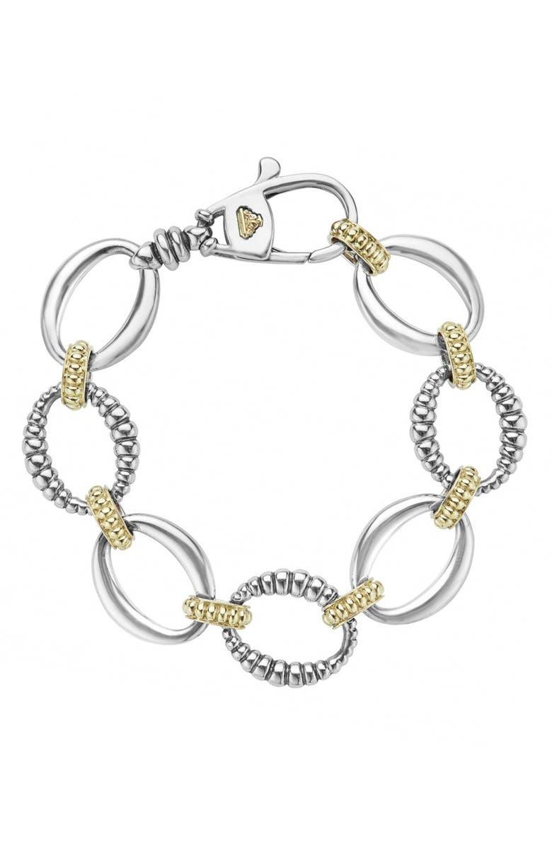 LAGOS 'Link' 2-Tone Bracelet, Main, color, STERLING SILVER/ GOLD