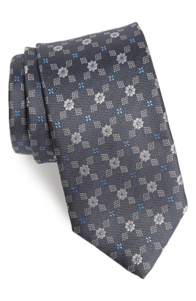 DAVID DONAHUE Geometric Flower Silk X-Long Tie, Main, color, 020