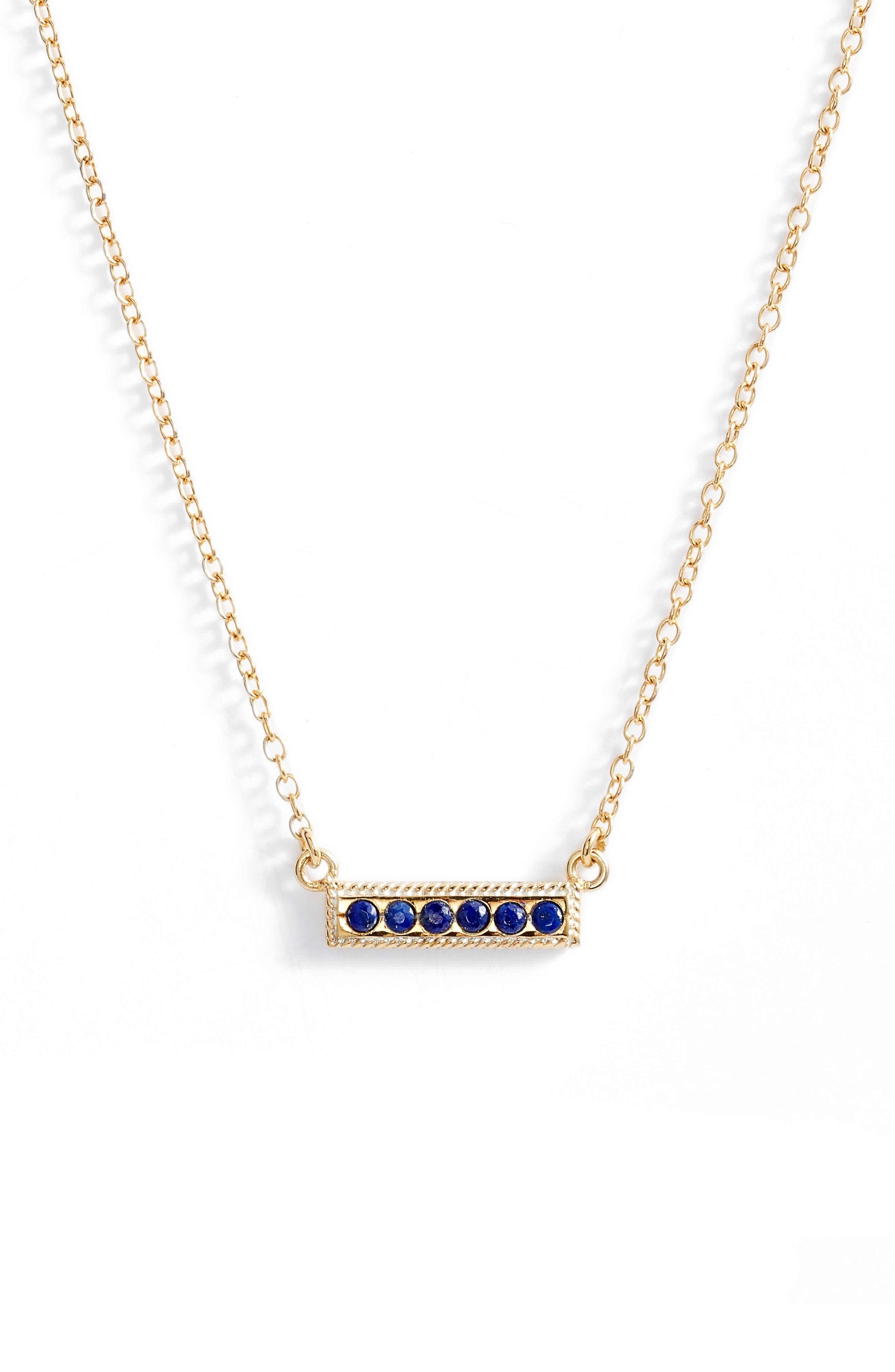 Lapis Lazuli Bar Pendant Necklace