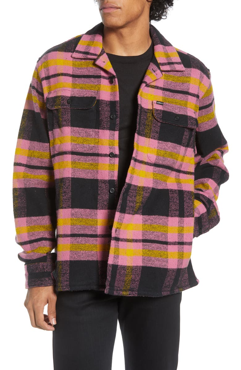 OBEY Fitzgerald Plaid Button-Up Flannel Shirt Jacket, Main, color, BURNT BRICK MULTI
