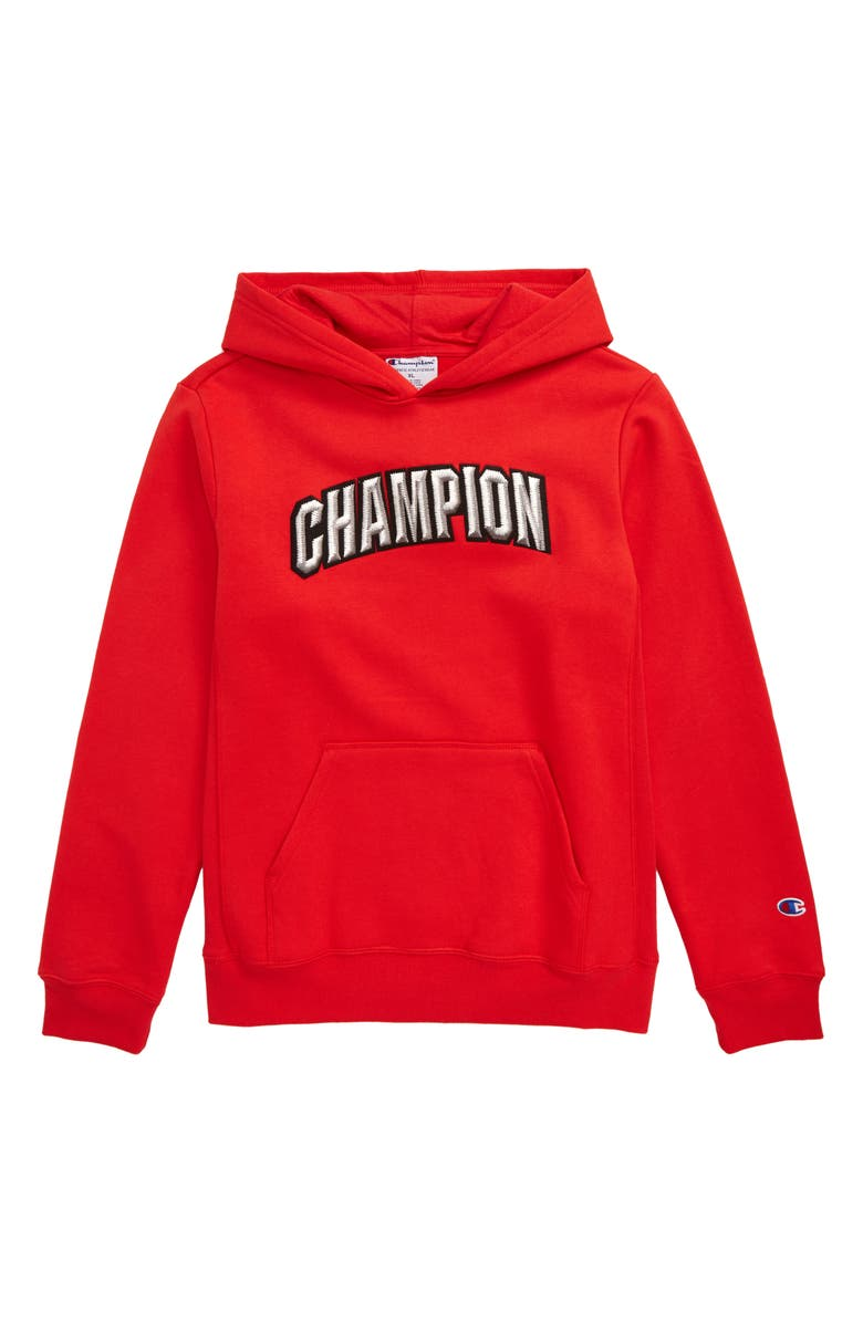 CHAMPION Varsity Logo Patch Hoodie, Main, color, SCARLET
