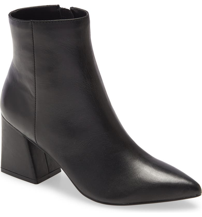 STEVE MADDEN Nix Pointed Toe Bootie, Main, color, BLACK LEATHER